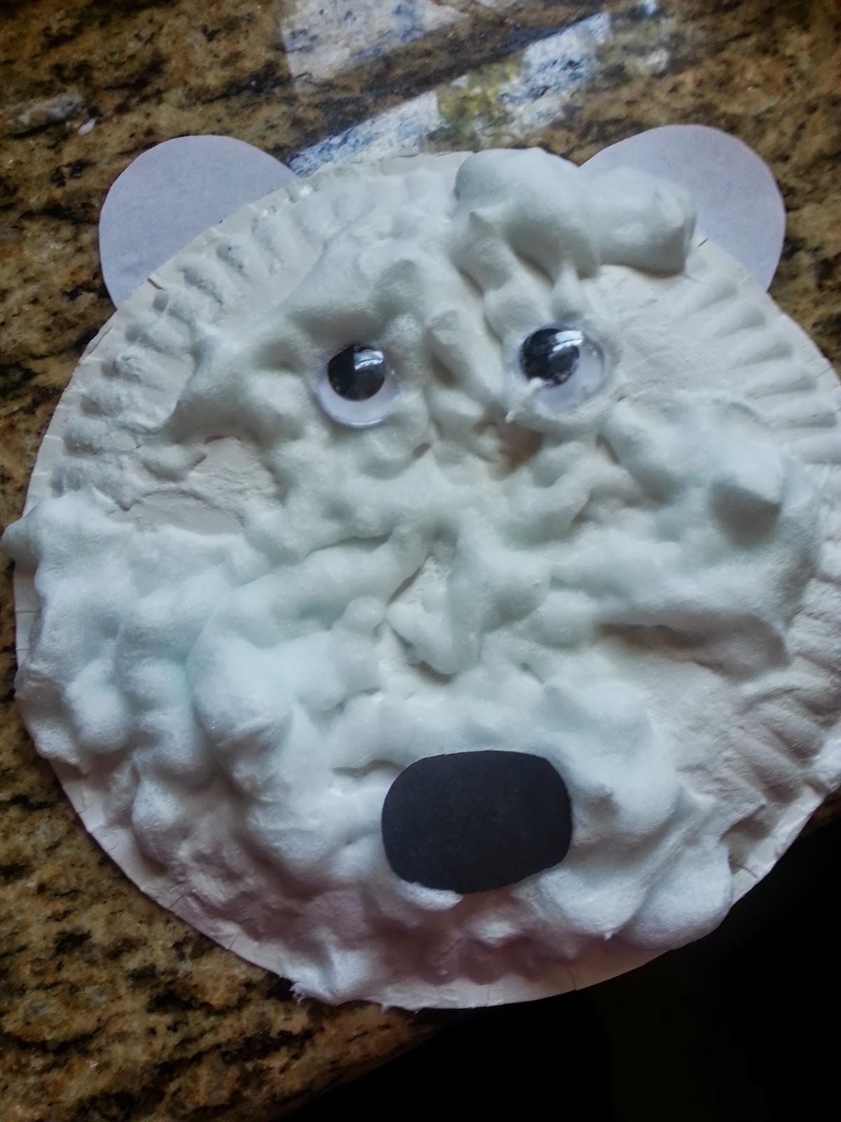 Here is another fun easy craft! It also uses another paper plate. To make the \ paint\  you take 2 tbsp glue and mix it with 4tbsp shaving cream. & Lessons for Tiny Minds: Bear Theme