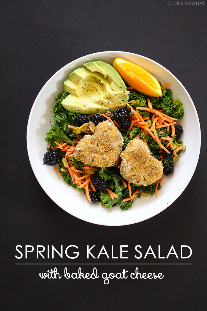 Spring Kale Salad with Baked Goat Cheese | Club Narwhal