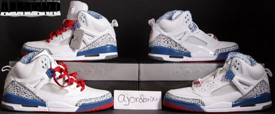 Air Jordan Spizike White Varsity Red True Blue shoes