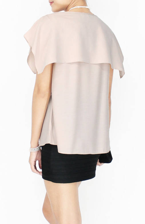 Champagne LUXE Handkerchief Overlay Blouse