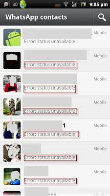 WhatsApp Status Unavailable Error Message