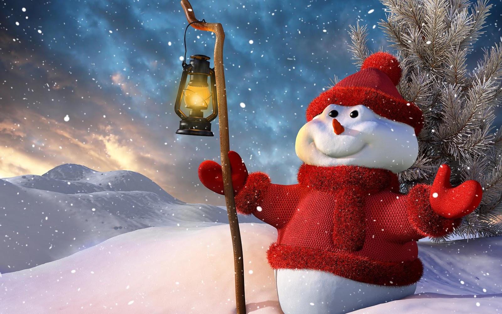 Achtergrond met een 3D sneeuwpop | Bureaublad Achtergronden