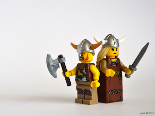 lego viking warrior and sword maiden