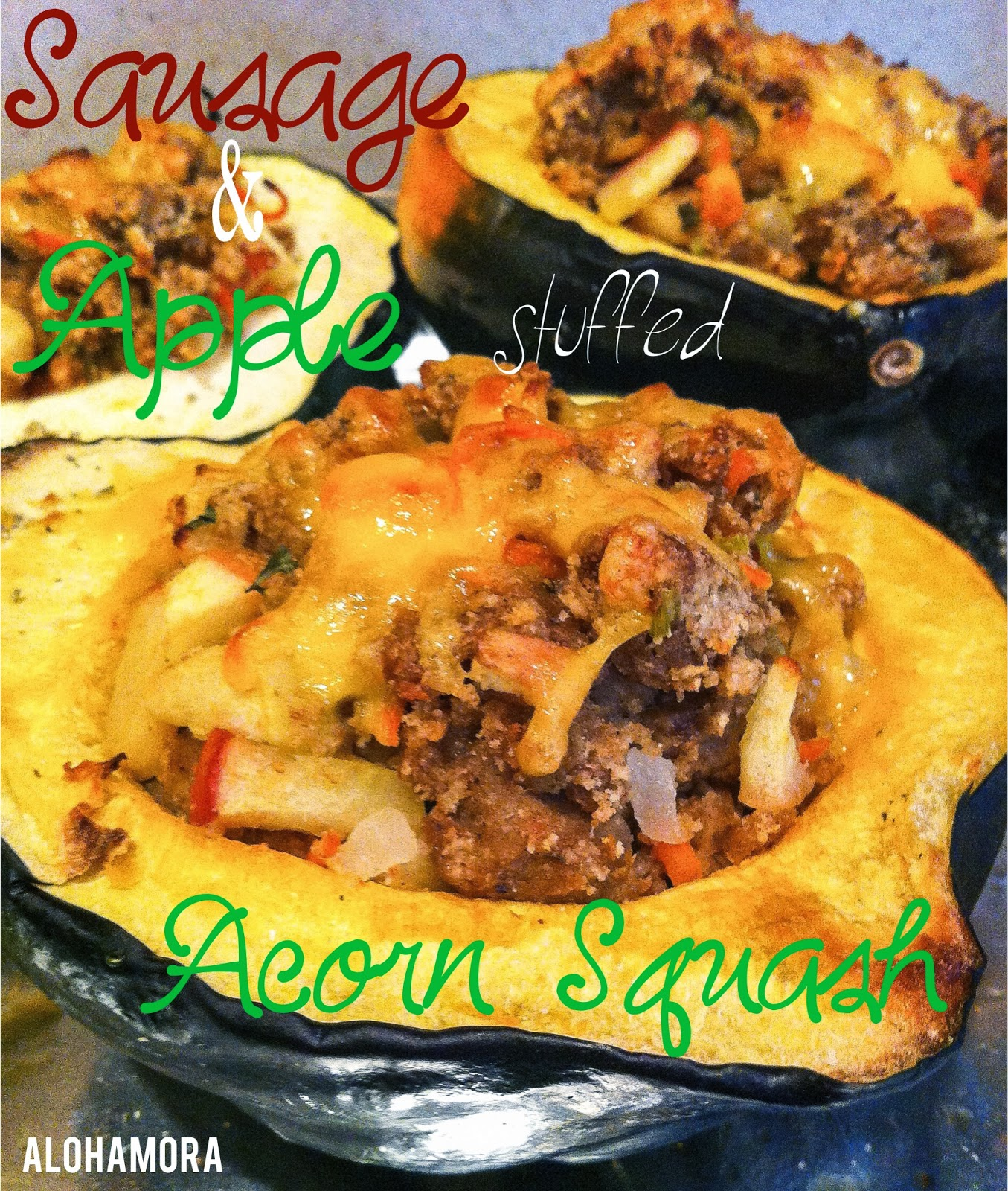 Sausage and Apple Stuffed Acorn Squash- and healthy dinner with loads of flavor and a secret sausage. Alohamora Open a Book http://alohamoraopenabook.blogspot.com/