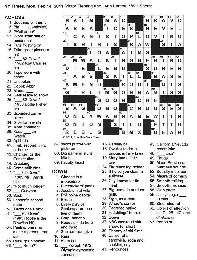 the new york times crossword in gothic: 02.14.11 — valentine's day, Ideas