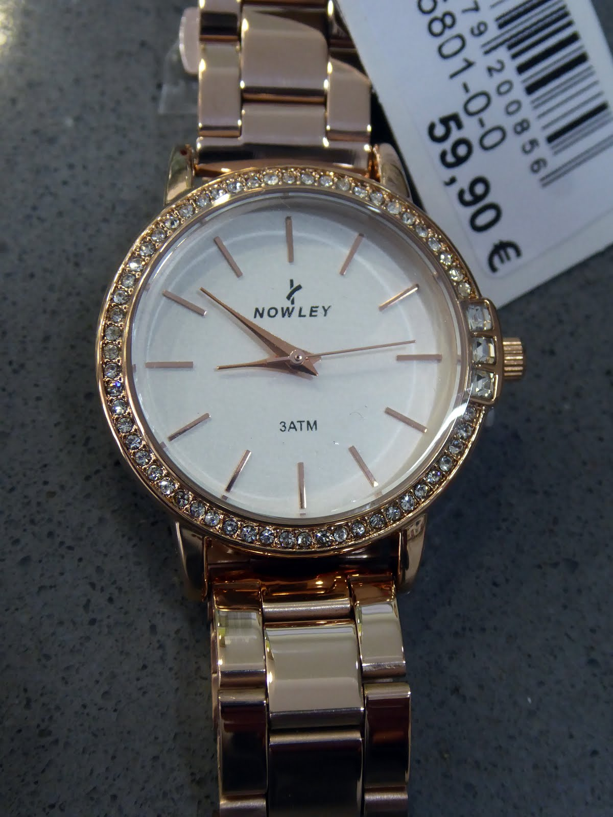 Reloj señora acero rosa, circonitas