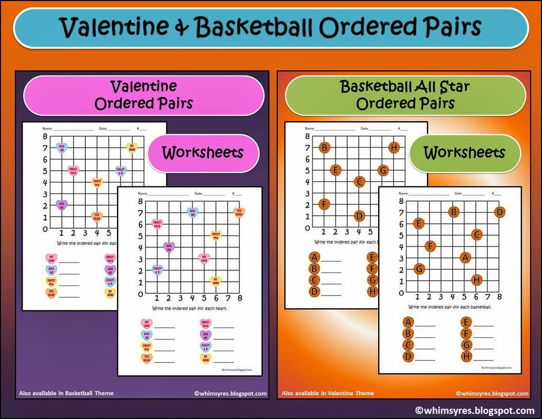 Whimsy Resources ValentineBasketball Ordered Pair Practice – Ordered Pair Worksheets