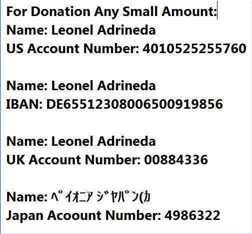 For Donation any small amount