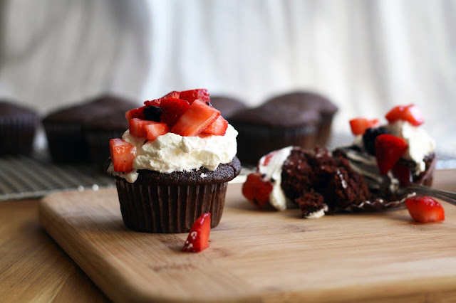 Easy Chocolate Cupcakes with Summer Berries | Sevengrams