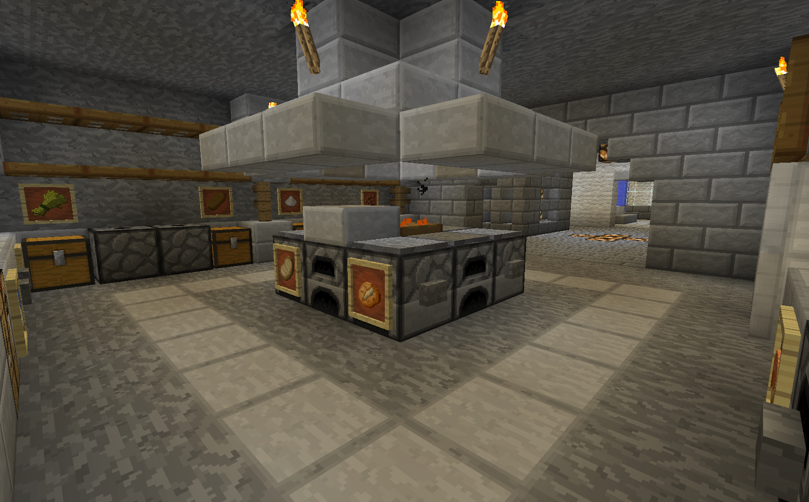 Kitchen For Minecraft Minecraft Projects Minecraft Kitchen With Functional Food Dispensers