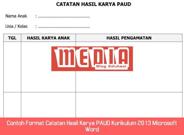 Contoh Format Catatan Hasil Karya PAUD Kurikulum 2013 Microsoft Word