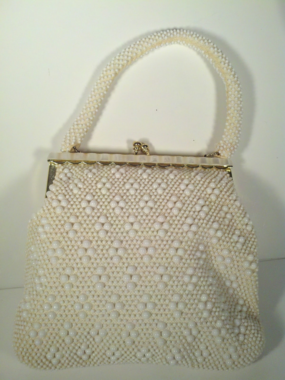vintage retro beaded purse white faux pearls bag ebay