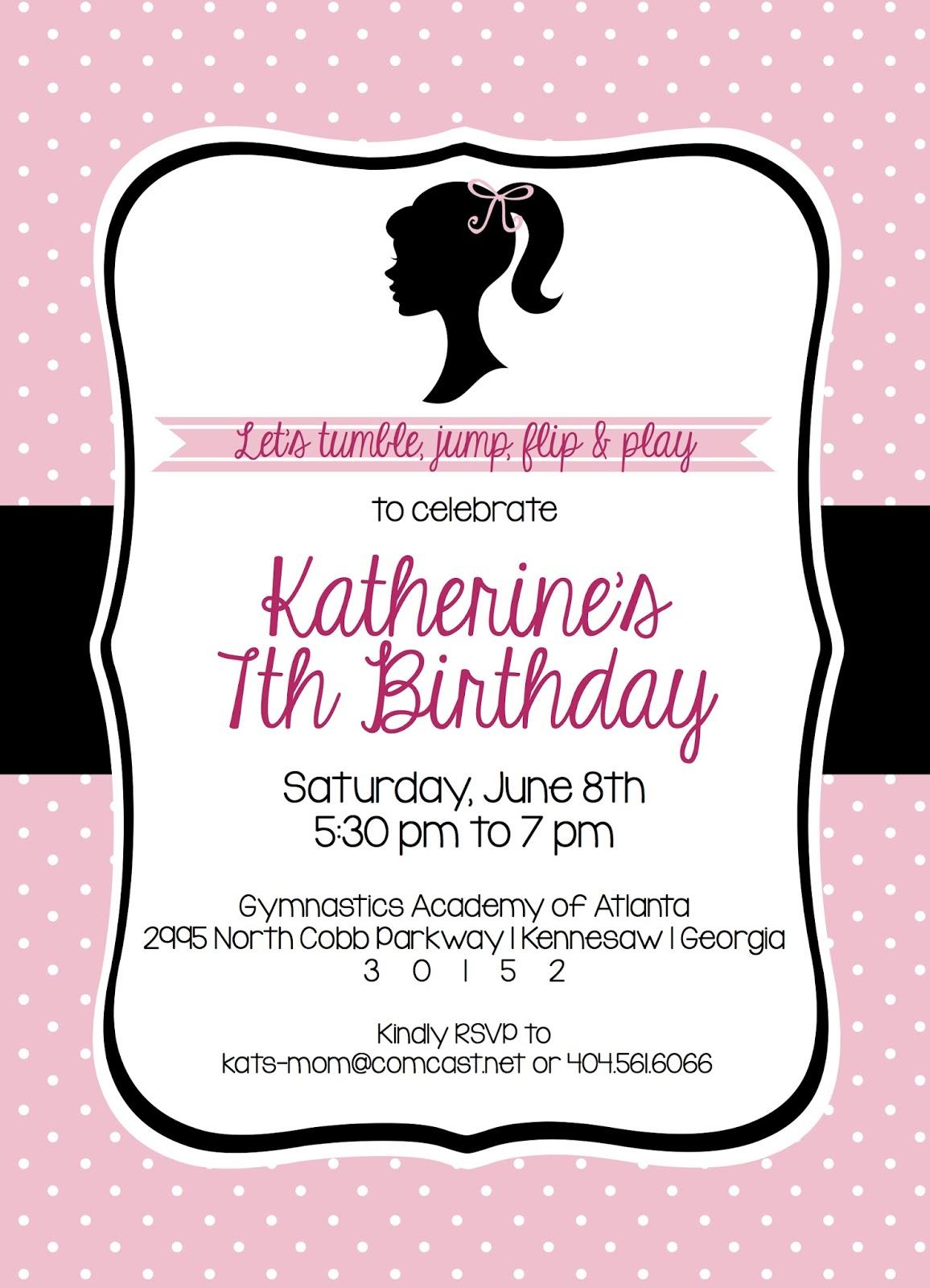 Shilo Lynn Prints katherine barbie birthday invitation