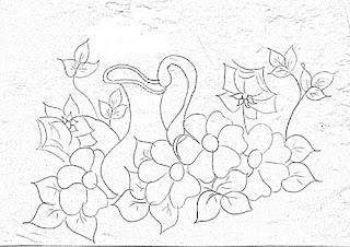 risco de jarra com flores silvestres