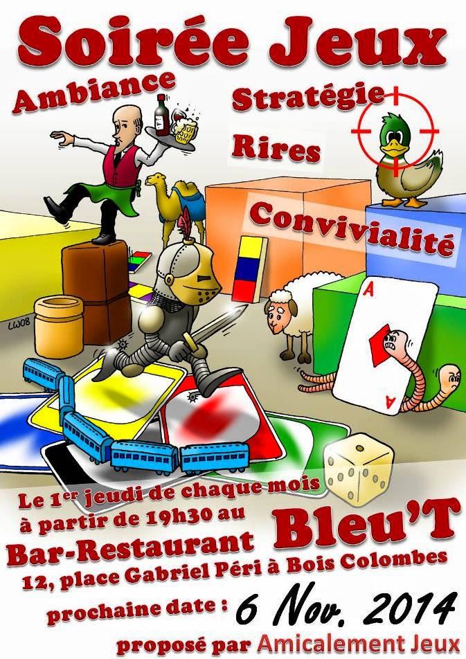 Soirée jeux à Bois Colombes le 6 novembre ! ~ Bleu T Bois Colombes