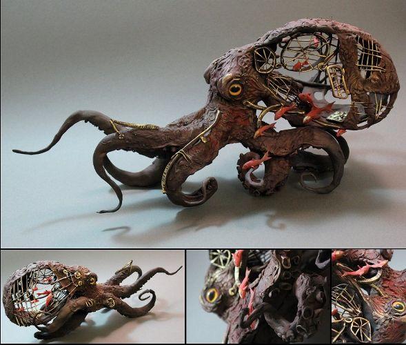 Ellen Jewett CreaturesFromEl deviantart esculturas surreais mixed animais Polvo mecânico