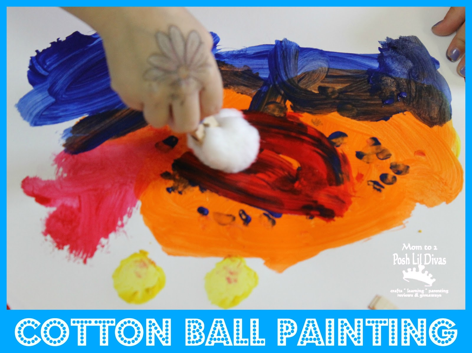kid art painting with cotton balls