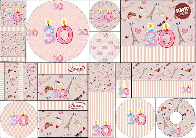 Cumpliendo 30 Años: Etiquetas Candy Bar para Imprimir Gratis.