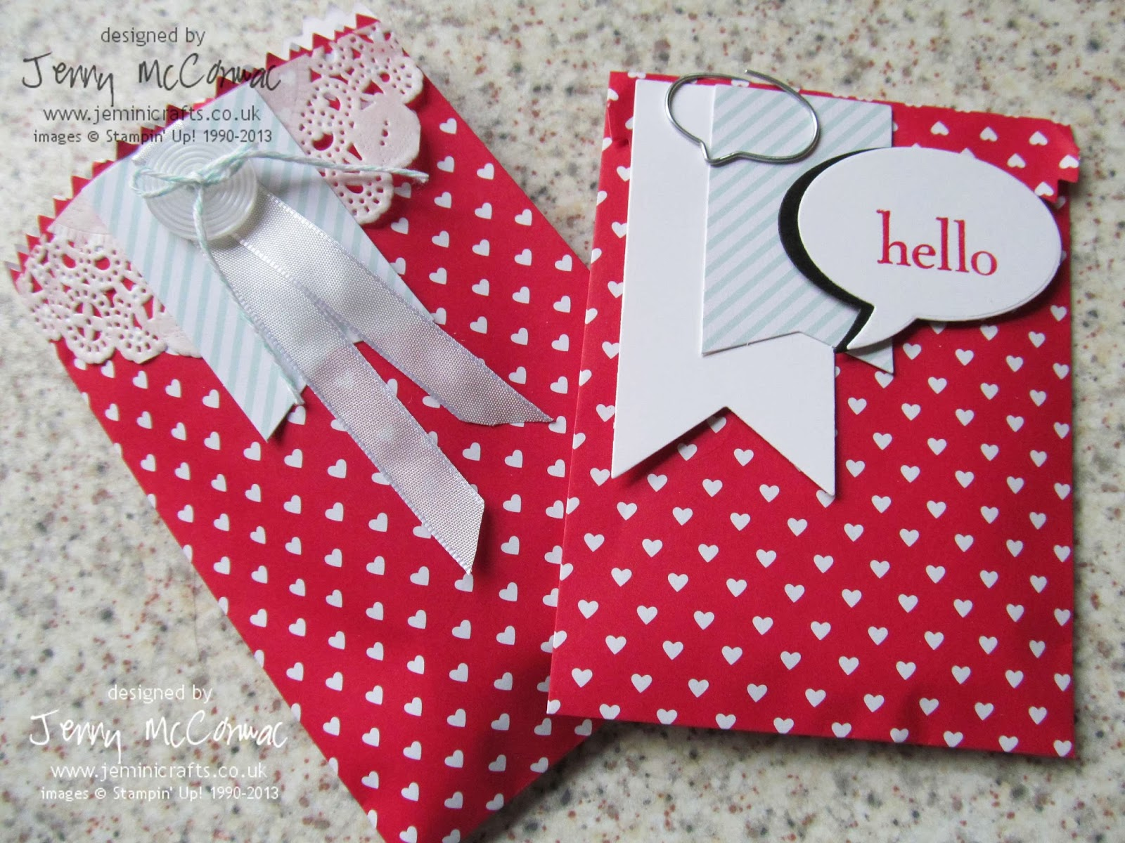Sweet heart Treat Bags Jemini Crafts stampin up