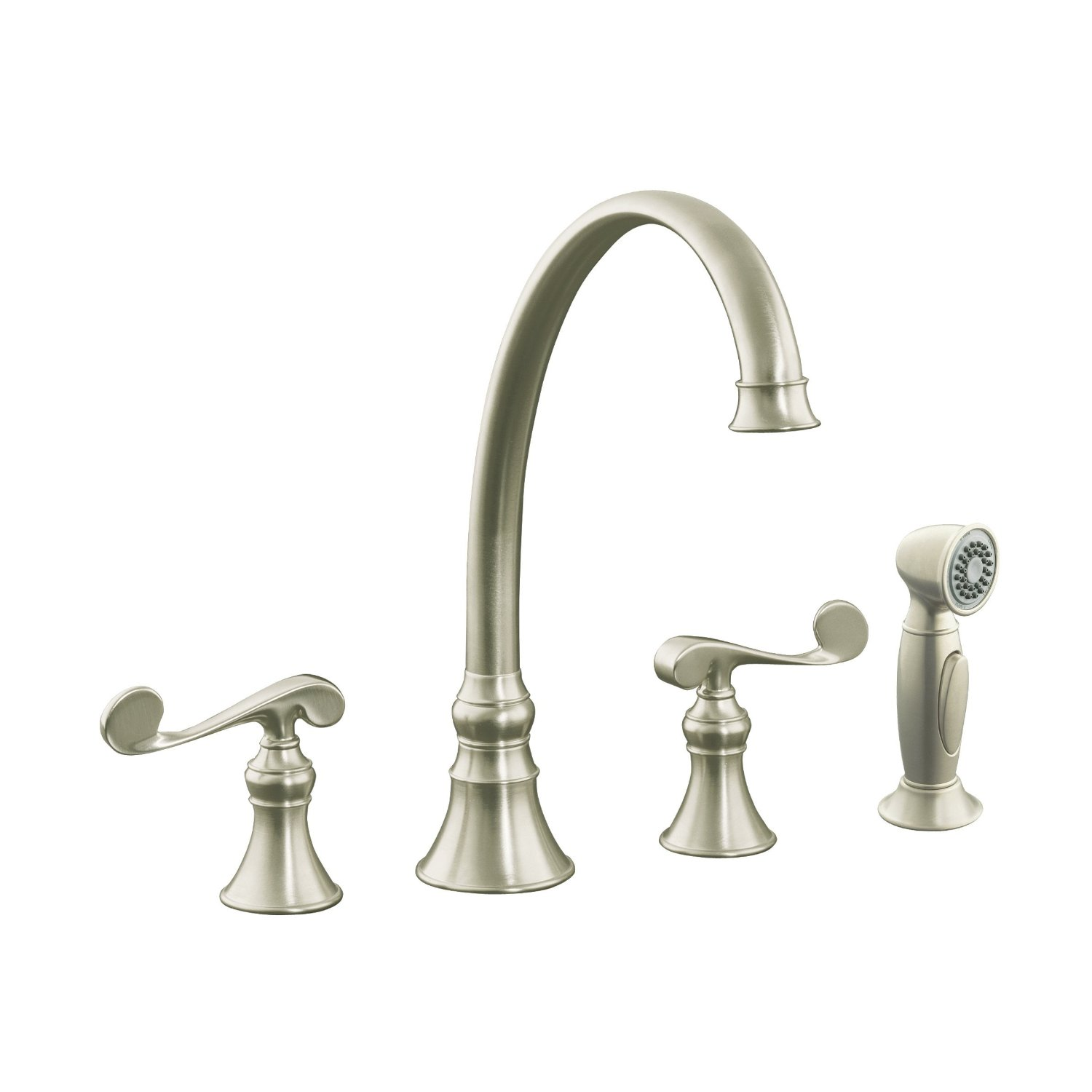 Kitchen Faucets Kohler : Shop for Best KOHLER K-16109-4-BN Revival Kitchen Sink Faucet (Vibrant ...