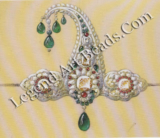 One of Boucheron's many designs for Bhupindar Singh, Maharaja of Patiala, in 1928. This sarpech cleverly combines traditional Indian design and engraved emerald drops with a platinum setting and four large faceted diamonds.