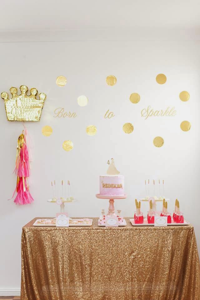 My daughter's 4th birthday party held in November 2014 Read more on the blog here: http://lifeslittlecelebrations.org/rebekahs-pink-gold-princess-party/  Vendor credits: all vendors at www.lifeslittlecelebrations.org  Photography Nikki Fitt Photography Printables: Jo Studio Table and chair hire: Mini Party People Cake and cookies: Minnie's Sweet Creations Plates/cups/favour bags: Illume Design Partyware Sequin tablecloth: Any Occasion Events Crown pinata: Party Pony Designer Pinatas Backdrop quote decal: Ps Made With Love Cake topper: Glistening Occasions Entertainment: Fairy Fun Partyware: Ruby Rabbit Partyware Glitter wooden spoons: Butterfly Kisses Celebrations Princess soap favours: Soap Buddies Rebekah's tutu: Sweet Pirouette Rebekah's chain: Little Miss Charlie's Treasures