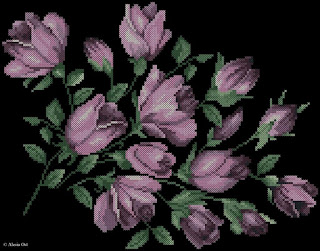Flowers on black canvas, floral, flower, frame, cross-stitch, back stitch, cross-stitch scheme, free pattern, x-stitchmagic.blogspot.it, вышивка крестиком, бесплатная схема, punto croce, schemi punto croce gratis, DMC, blocks, symbols