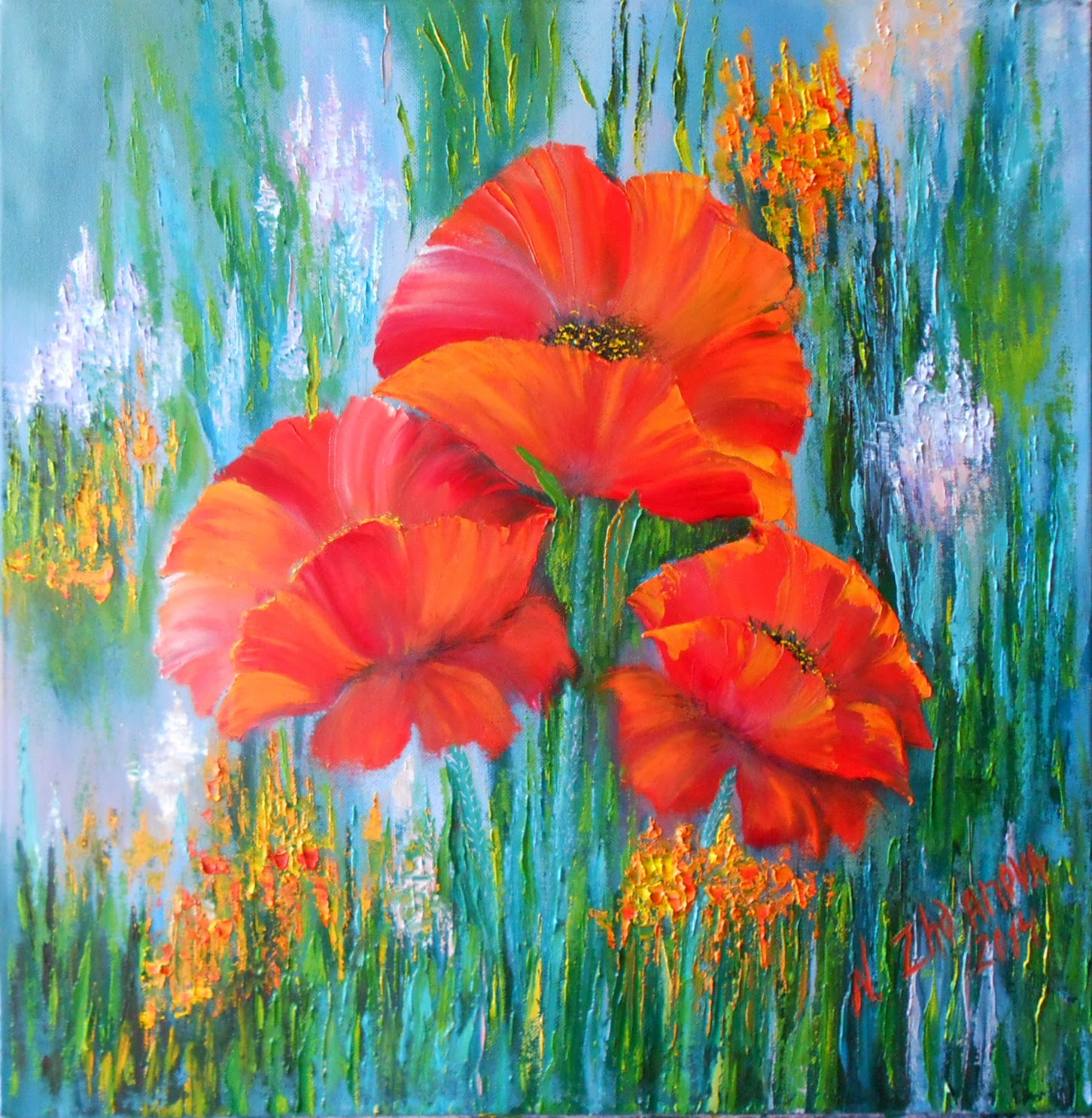 "Original Modern oil Painting Flowers Red poppies palette knife on canvas in handmade. Russian modern art Flowers Painting ""Red poppies "" in style Impressionism."