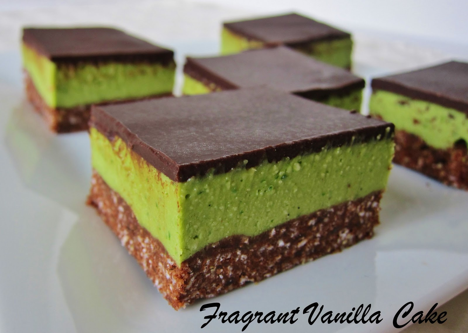 Raw Grasshopper Bars | Fragrant Vanilla Cake