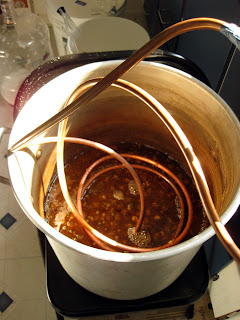 You can see how little wort was left in the 10 gallon kettle after the long boil.