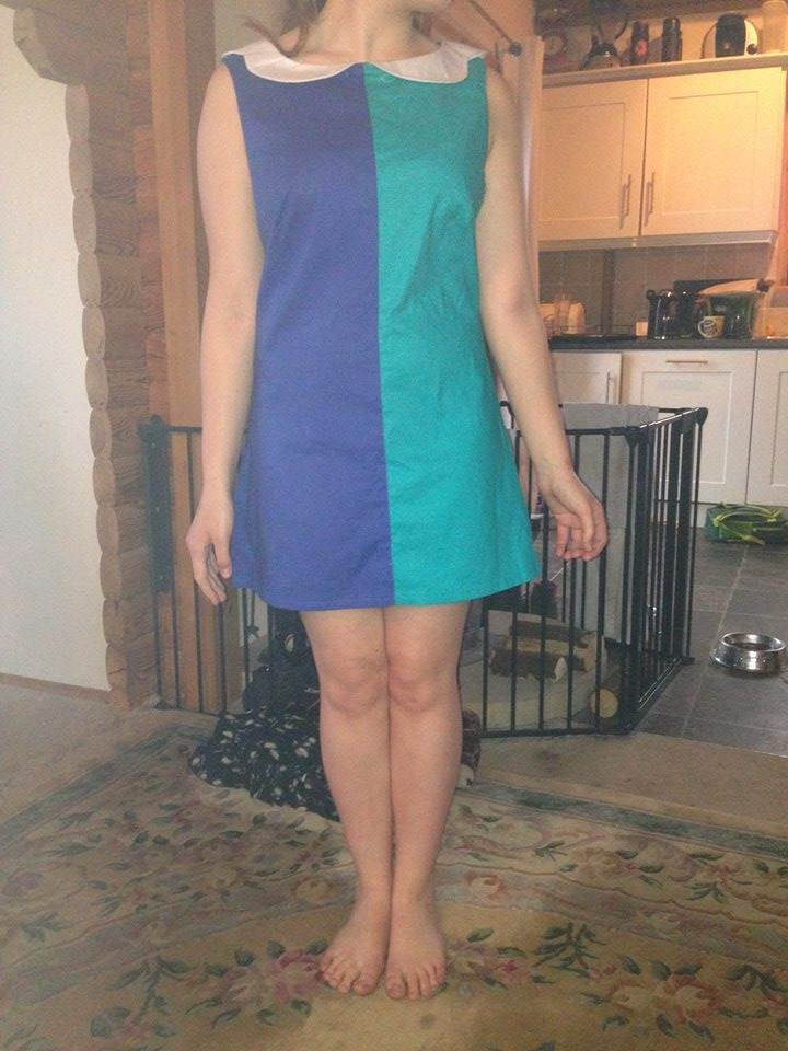 1960s style colour-blocked shift dress in turquoise & navy with a white scalloped Peter Pan collar, made & modelled by a 15 year old