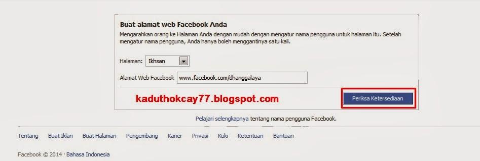Masukan nama pengguna facebook yang tidak bisa di ganti lagi