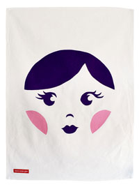 Sweet Babushka Tea Towel Plum