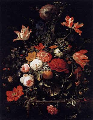 A Glass of Flowers and an Orange Twig -  Abraham Mignon - Still-life