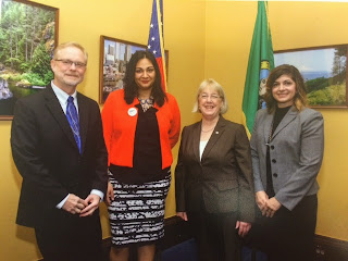 Senator Murray with Seattle Central alumna Taleah Mitchell, SBCTC Basic Education for Adults Director Jon Kerr and Government Relations Director Alison Grazzini