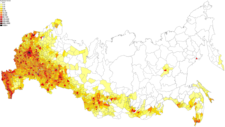 Russia Population Density Map
