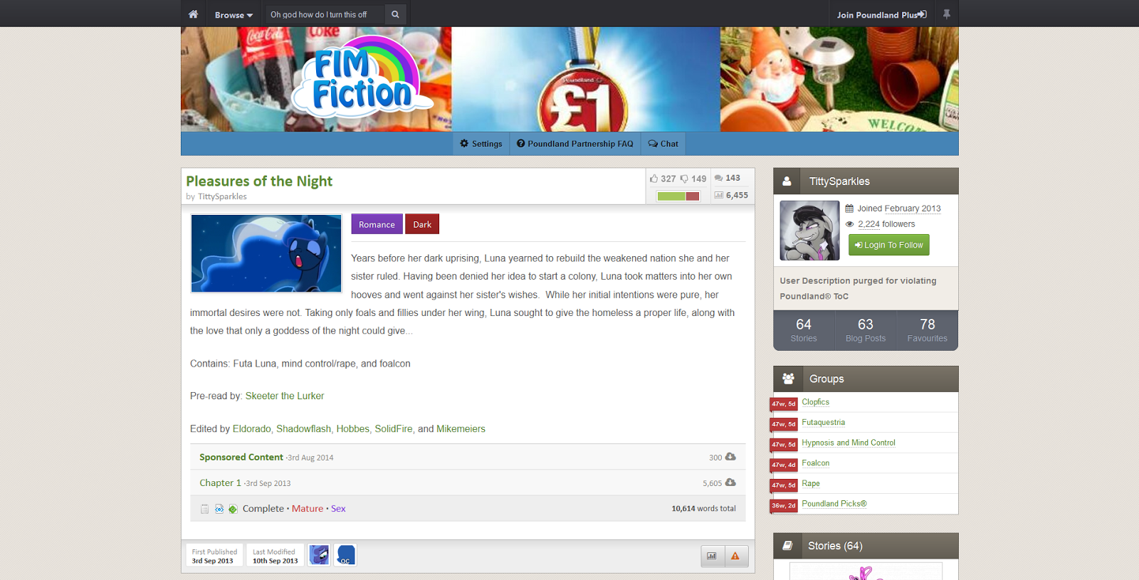 Generic Fimfiction screenshot
