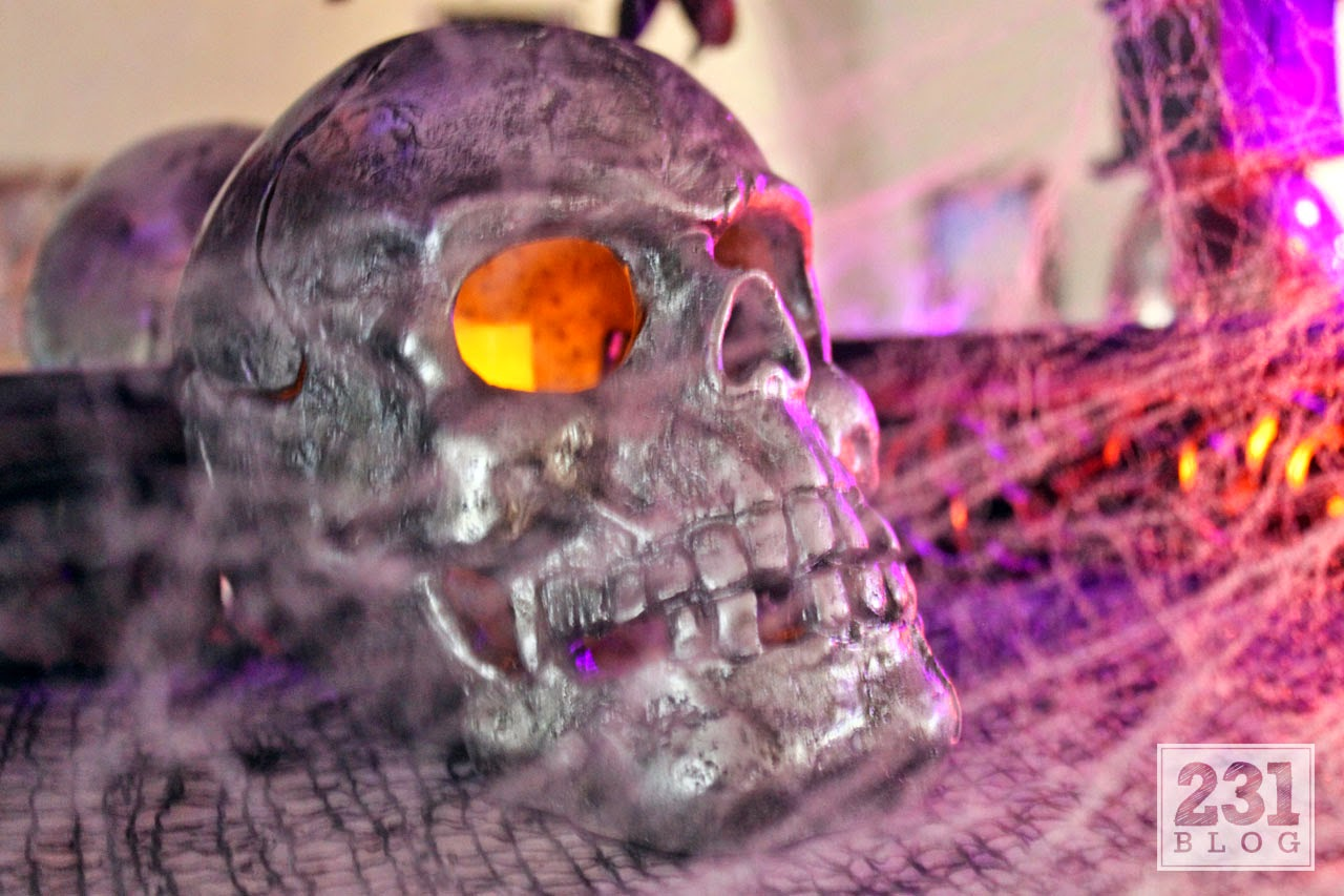 glowing skull halloween mantel