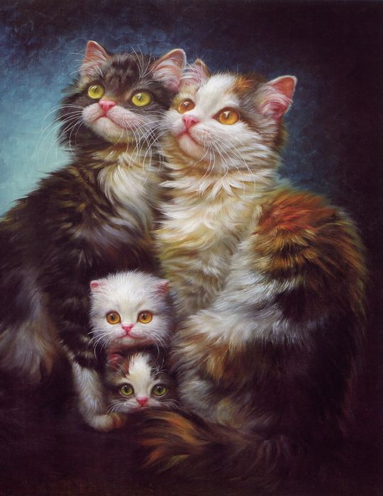 Funny Cat Oil Paintings