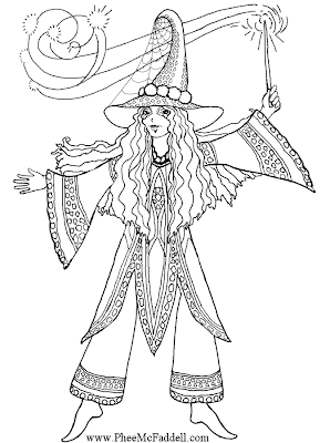 & Mermaid Blog: Free Fairy Fantasy Coloring Pages by Phee McFaddell
