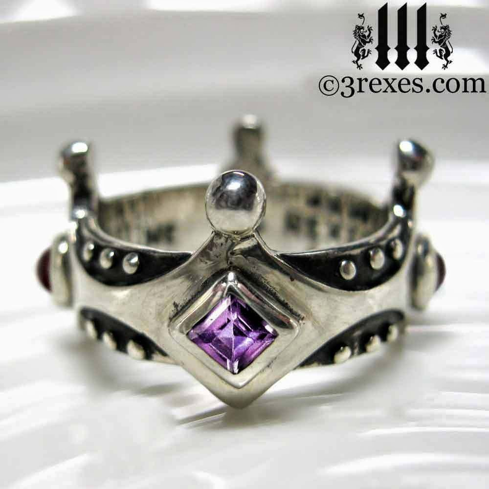 Silver Medieval Gothic Wedding Crown Ring