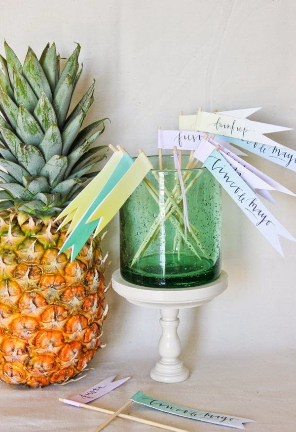 12 Party Ways To Use Calligraphy; drink flags