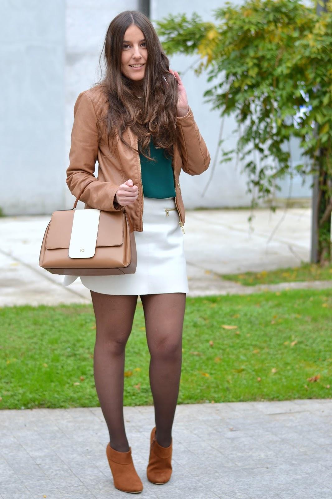 falda blanca de polipiel de zara