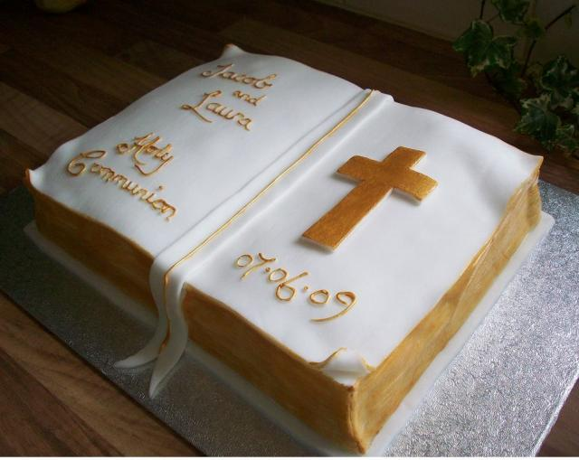 Bible Shaped Cake http://uncommonlvt.blogspot.com/2011/04/confirmation-cake-ideas.html