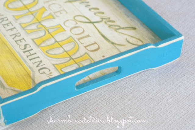 vintage inspired serving tray with distressed paint
