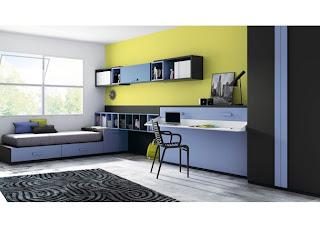 dormitorio juvenil con cama abatible con mesa de estudio