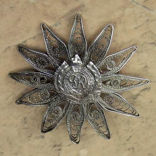 Royal Engineers filigree sterling silver brooch