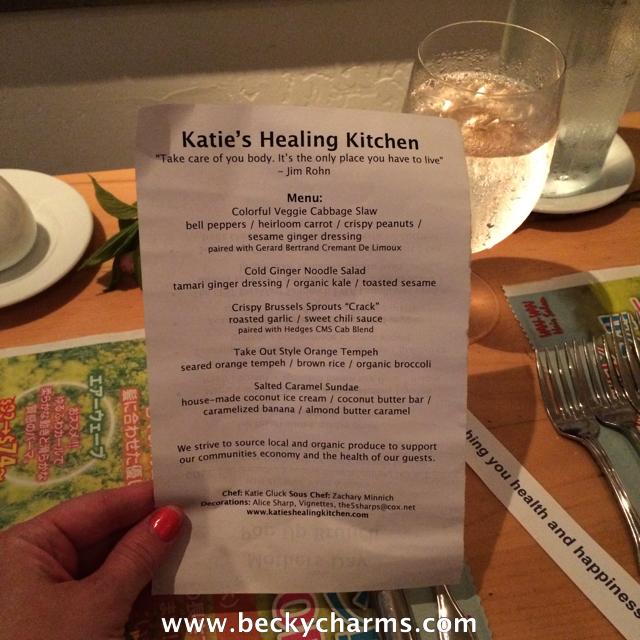 Katie's Healing Kitchen Vegan Asian PopUp Dinner at Wine Vault & Bistro    www.beckycharms.com