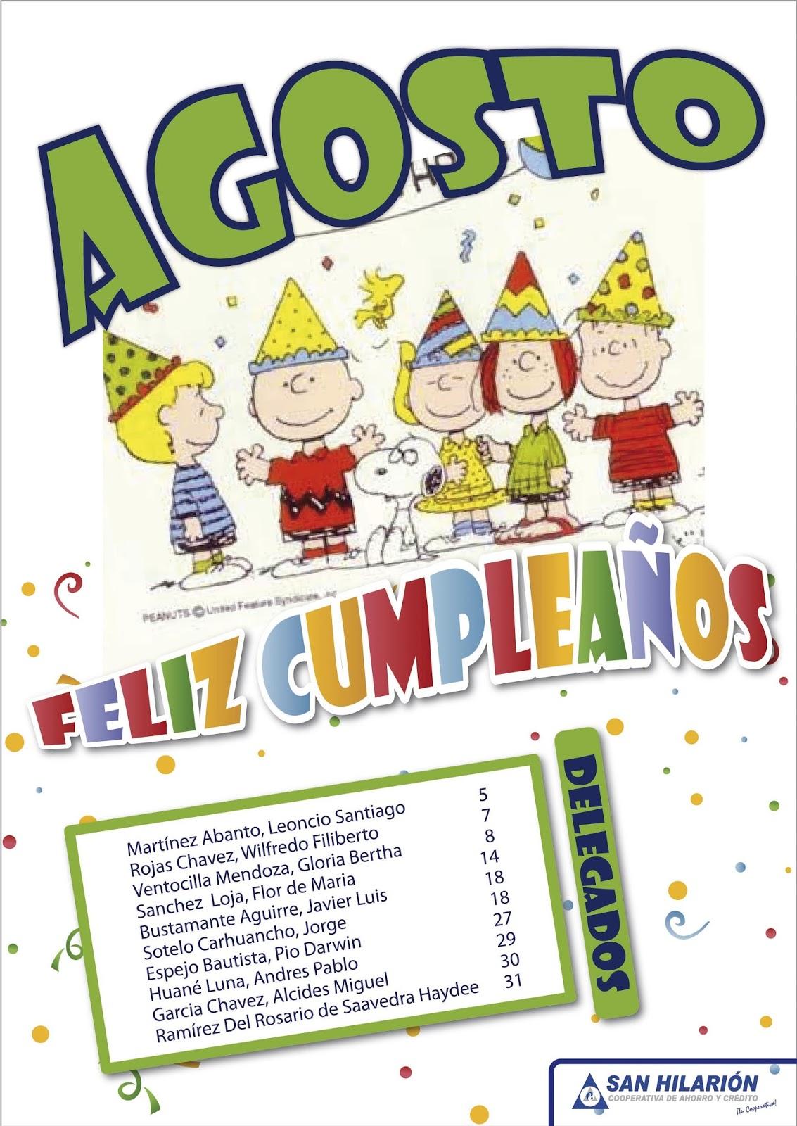 Cooperativa san hilari n agosto feliz cumplea os a for En agosto cumplo anos