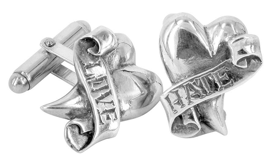 lovehate cufflinks by metal couture